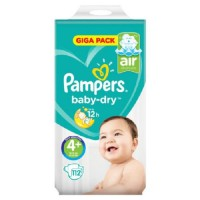PAMPERS Baby dry Couches bébé T4+ x112