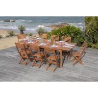 Table extensible et 8 chaises pliantes - En eucalyptus - 8 places