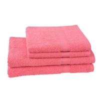 JULES CLARYSSE Lot de 2 serviettes 50x100 cm + 2 draps de bain 70x140 cm ELEGANCE Corail