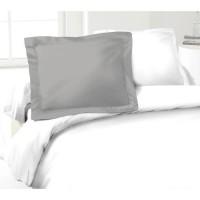 LOVELY HOME Lot de 2 Taies d'Oreillers 100% coton 50x70 cm - Gris clair