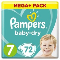 Pampers Baby-Dry Taille 7, 15+ kg, 72 Couches - Mega Pack