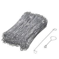 NATURE Lot de 200 Liens a boucle en acier galvanisé pour torsadeuse a fil - (L16 cm x Ø1 mm)