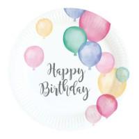 AMSCAN Lot de 8 Assiettes Happy Birthday Pastel 18 cm