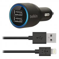 Belkin Micro chargeur de voiture avec 2 ports USB 2.1A livré avec un câble Lightning 1,2 m