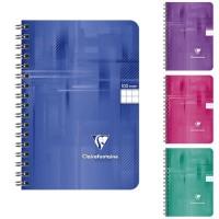 CLAIREFONTAINE - Carnet reliure intégrale - 9 x 14 - 100 pages 5 x 5 - Couverture pellicukée - 4 couleurs aléatoires