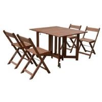 Ensemble repas de jardin - table 110x90cm avec 4 chaises pliantes - En eucalyptus
