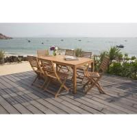 Ensemble de jardin en eucalyptus FSC - 1 table et 6 chaises pliantes - 160x90x74cm