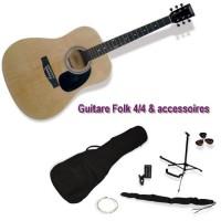 DELSON Pack Guitare Folk Montana naturelle + accessoire
