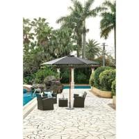 Parasol en bois rond et polyester 160g/m² - Arc 3 m - Gris