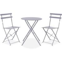Set bistrot - ensemble repas de jardin - Table pliante + 2 chaises - Structure : acier - Coloris : Gris