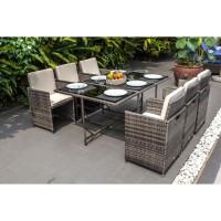 NAURU Ensemble table avec plateau en verre et 6 fauteuils en résine tressée - 167 x 110 x 74 cm