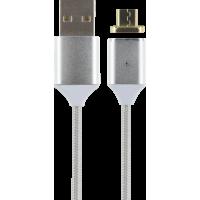 Câble magnétique USB/micro USB gris métallisé