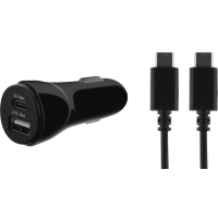 Chargeur allume-cigare avec câble USB C/USB C noirs