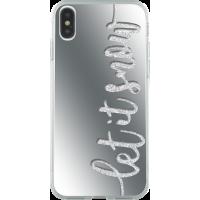 Coque rigide liquide paillettes effet miroir Let it snow pour iPhone X/XS