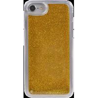 Coque rigide liquide avec paillettes dorées pour iPhone SE (2020)/8/7/6S/6