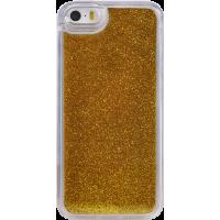 Coque rigide liquide avec paillettes dorées pour iPhone 5/5S/SE