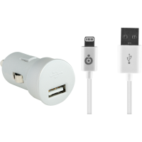 Mini chargeur allume-cigare blanc USB 2A avec câble USB/Connectique Lightning
