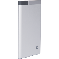 Batterie de secours argentée 5000 mAh avec câble micro USB et adaptateur USB C