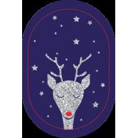 Sticker support bleu motif pailleté renne pour mobile