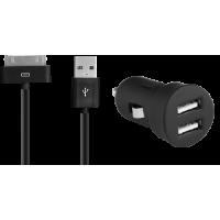 Mini chargeur allume-cigare noir 2A connectique 30 broches Apple