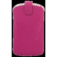 Pouch universel vertical rose avec papillon embossé