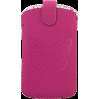 Pouch universel vertical rose taille L avec papillon embossé