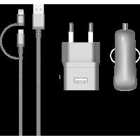 Pack de charge Colorblock argenté avec connectique Lightning et micro USB
