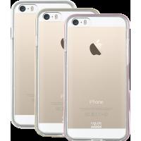Lot de 3 bumpers Colorblock rose, doré et blanc pour iPhone 5/5S/SE