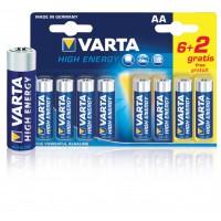 Piles alcalines AA/LR6 1.5 V puissance longue durée 6+ 2 gratuites