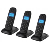 triple téléphone DECT sans fil noir
