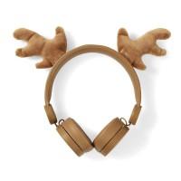 Casque filaire   Câble rond de 1,2 m   Oreillette   Oreilles magnétiques amovibles   Rudy Reindeer   Brun
