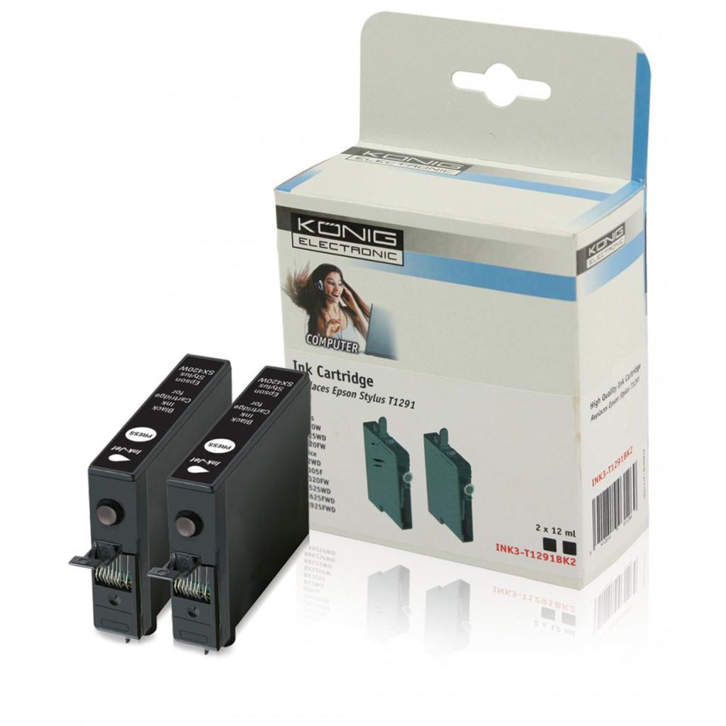 31574 cartouche epson compatible t1291 noir 2x 12 ml epson compatible t 1291 convient pour. Black Bedroom Furniture Sets. Home Design Ideas