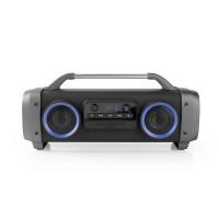 Party Boombox | Autonomie d'Écoute de 12 Heures | Technologie Sans Fil Bluetooth® | Radio FM | Feux de Fête | Noir