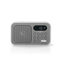 Radio FM | 2,1 W | Horloge et Alarme | Gris/Blanc