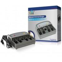 Chargeur de batterie universel pour batteries AAA, AA, C ou D (2 ou 4 pcs), et 9 V
