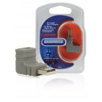 Adaptateur USB 2.0 Coudé à 90° USB A Mâle - USB A Femelle Gris