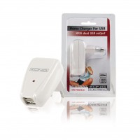 Chargeur USB double 100 - 240 V AC 50 / 60 Hz - USB 2x 5 V DC 500 mAh