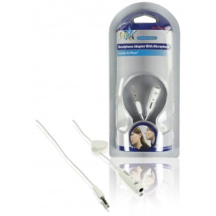 Adaptateur de casque avec microphone pour iphone blanc