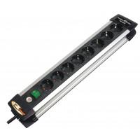 Prise d'extension Premium-Alu-Line 8 Voies 3.00 m Aluminium/Noir - Le contact de protection