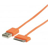 Câble de Synchronisation et de Charge USB Connecteur dock 30 broches mâle - USB A mâle 2,00 m orange