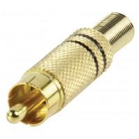 Fiche phono plaqué or avec une protection pour cable noir