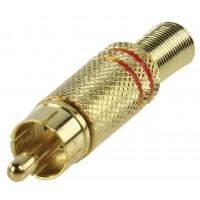fiche phono plaqué or avec protection de câble rouge