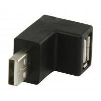 Adaptateur coudé coudé 90° : USB 2.0 mâle A vers USB femelle