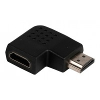 Adaptateur HDMI noir avec connecteur HDMI - entrée HDMI à angle droit gauche
