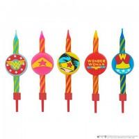 Lot de 10 bougies Anniversaire Logo Wonderwoman - DC Comics
