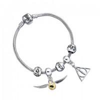 Ensemble Charm Harry Potter - Bracelet en argent/Reliques de la mort/Vif d'or/3 perles de sort