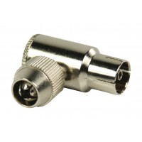 Connecteurs coaxiaux sans soudure coudés à fiche coaxiale femelle métalliques 2 pièces