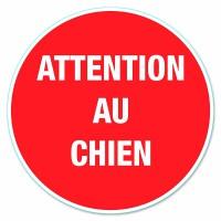 """Disque de signalisation """"Attention au chien"""" - PVC adhésif - Ø 280 mm"""