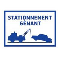 Panneau de signalisation Stationnement genant - PVC adhésif - 275 x 190 mm