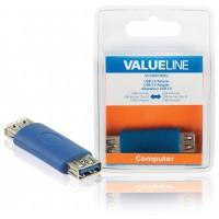Adaptateur USB 3.0 à connecteur USB A femelle vers USB A femelle bleu